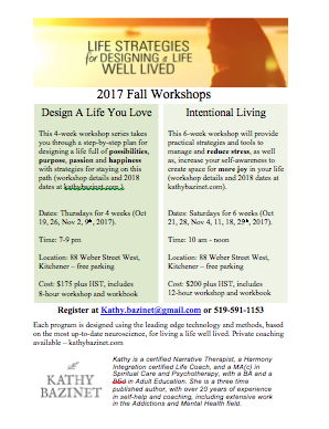 Live Well Lived – Fall Workshop Registration Now Open
